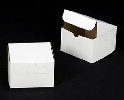 10 Count White 6x6x4 Bakery Or Cake Box