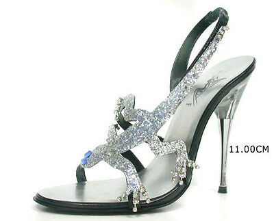Italy traumhafte silber funkelnde wie Diamanten Designer High Heels  Gr.43