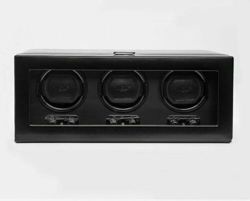 Wolf 270202 Heritage Triple 2.1 Watch Winder with Cover/ Lock-In Cuff Black NEW