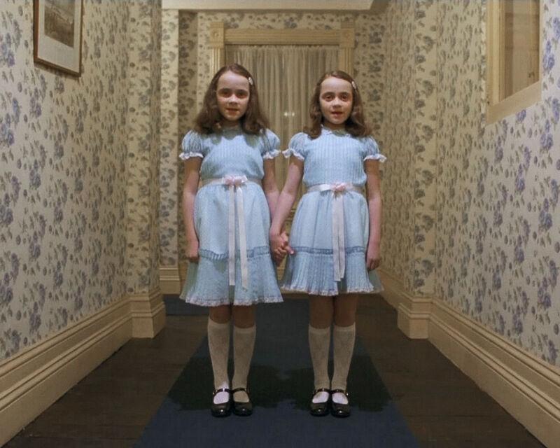 The Shining Lisa Burns Louise Burns spooky creepy Twins in hallway 8x10 Photo