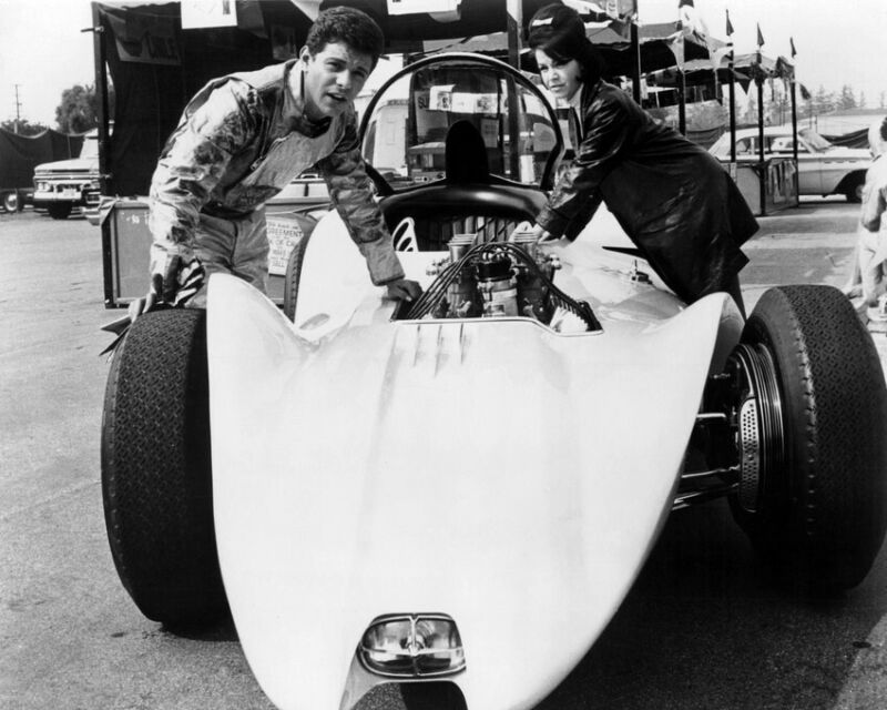 ANNETTE FUNICELLO, FRANKIE AVALON BIKINI BEACH 8X10 PHOTO HOT ROD SPORTS CAR