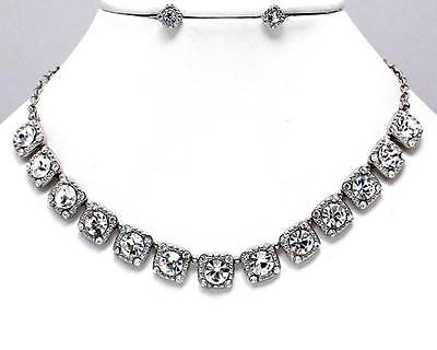 Austrian Crystal Bridal Wedding Evening Formal Prom Earrings Silver Necklace Set