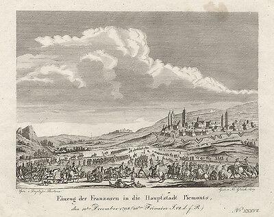 Turin: Einzug der Franzosen in die Hauptstadt Piemonts. -  Kupferstich, 1819