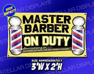 3x2 Master Barber On Duty Poles Open Sign Banner Barbershop Beauty Hair Salon