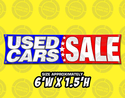 6X1 5 Used Cars Sale Banner Dealership Broker Open Sign Display Pre Owned Car