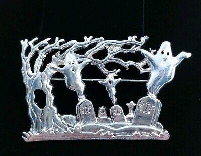 (W) HALLOWEEN SPOOKY TREE FLYING GHOST GRAVEYARD PIN BROOCH SILVER TONE