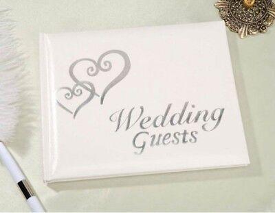 Elegant Wedding Bridal Guest Book Album with Interlocking DOUBLE HEARTS ~ SILVER](Guest Books)