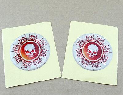 Skull Emblem Decal Sticker Motorcycle Fairing Gas Tank Atv Dirt Bikes Custom 2X