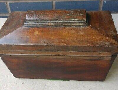 Antique wooden tea caddy for restoration