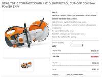 """STIHL TS410 COMPACT 300MM / 12"""" 3.2KW PETROL CUT-OFF CON SAW POWER SAW"""