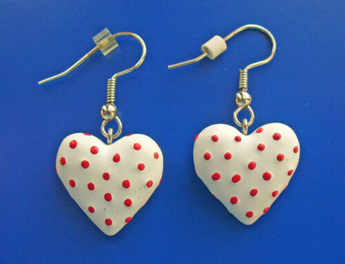 EARRINGS Valentines Vintage HEARTS POLKA DOT Red & White Dangle Pierced Holiday