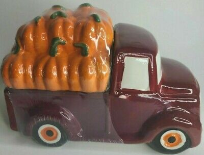 NEW Autumn Harvest Decor Red Farm Truck with Pumpkins Cookie Jar Free Shipping