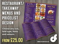 Restaurant & Takeaway Menu, Price or Wine Lists | Freelance Graphic Design | Posters & Flyers