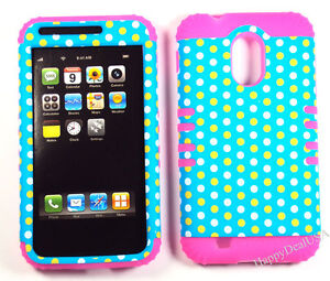 Hybrid-Silicone-Cover-Case-for-Sprint-Samsung-Galaxy-S2-D710-PK-Polka-Dots-Teal