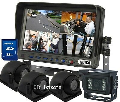 """BACKUP REAR SIDE VIEW REVERSE CAMERA SYSTEM 7""""QUAD LCD MONIT"""