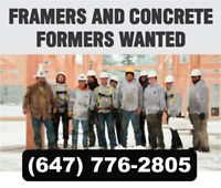 EXPERIENCED FRAMERS AND CONCRETE FORMERS REQUIRED