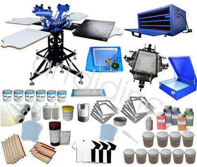 3 Color 4 Station Screen Printing Equipment Kit Exposurestretcherdying Cabinet