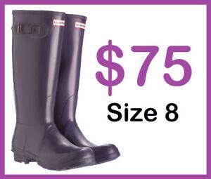 HUNTER Rain Boots in Purple Plum, TALL (Size 8, Women's)