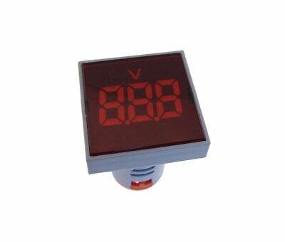 Ac 60-500v Digital Voltage Meter Panel Mount M22 Ad16-22 Square - Red