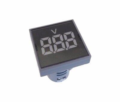 Ac 60-500v Digital Voltage Meter Panel Mount M22 Ad16-22 Square - White