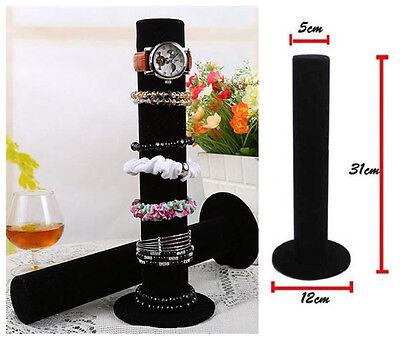 Black Velvet Watch Bangle Cylinder Jewelry Display Stand Holder Rack Women Gift