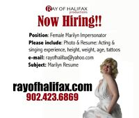 NOW HIRING !! MARILYN IMPERSONATORS !!