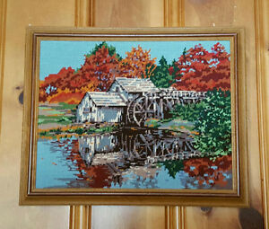 Framed Needlepoint Picture - Old Watermill / Autumn Leaves