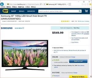 "Brand New Unopened Samsung 40"" 1080p LED Smart Hub Smart TV"
