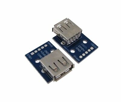 Usb 2 0 Type A Female Breakout Board 2 54Mm Header   Pack Of 2