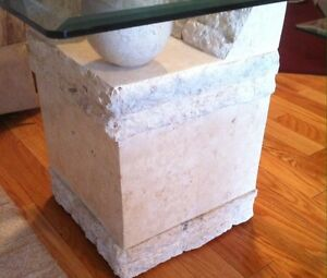 Contemporary Coffee &  End Tables, Glass & Carved Limestone Base Cambridge Kitchener Area image 4