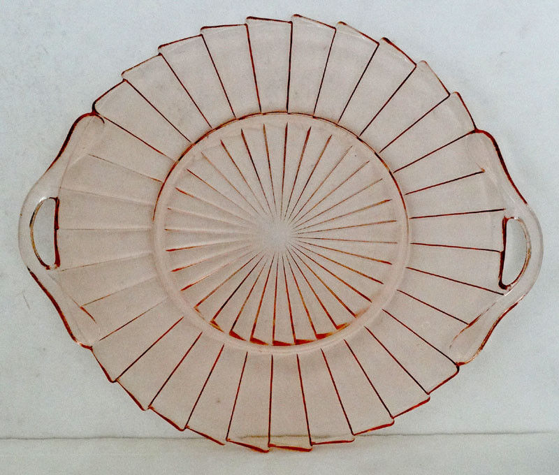 JEANNETTE Pink SIERRA Pinwheel ART DECO Depression Glass SERVING TRAY