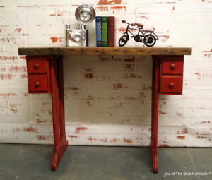 Rustic reclaimed wood entry table/desk