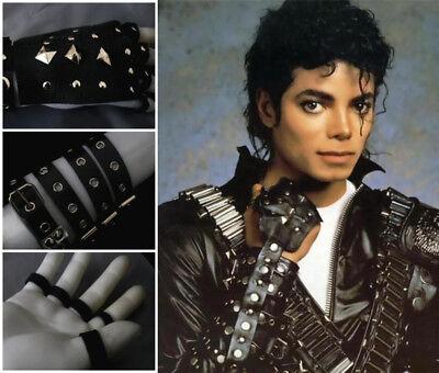 Classic BAD MJ Michael Jackson Punk Rivet Gloves Fashion Real Leather Handwork