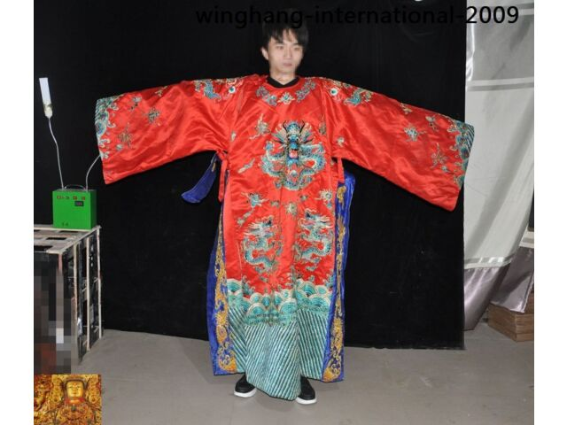 Rare China Ming Dynasty dynasty silk embroidery Loong Dragon Emperor robe Robes