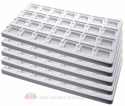 5 White Insert Tray Liners W 28 Compartments Drawer Organizer Jewelry Displays