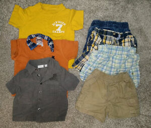 7-piece boys' summer clothing, size 6 - 12m $5, winter 0-6m $10