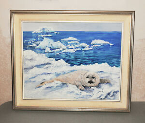 Baby Seal on Arctic Icecap Painting with Cloth Mat & Wood Frame