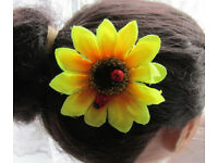 Handmade summer ladybird sunflower hair clip