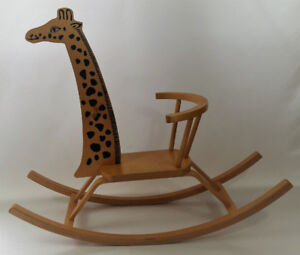 Wooden Giraffe Rocking Horse Ride on Toy Animal Character