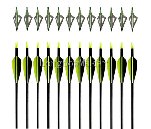 "12PK Archery Fiberglass Arrows 32"" Hunting 12X Broadheads 100Gr Field Tips"