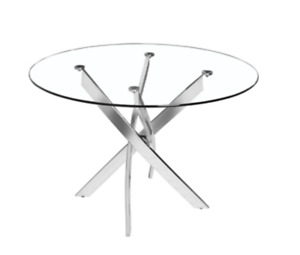 Gorgeous Glass Dining Table and 4 Grey Chair Set