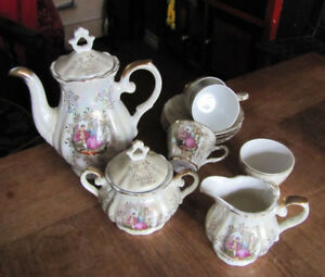 Courting couple demitasse or tea set lustreware Japan