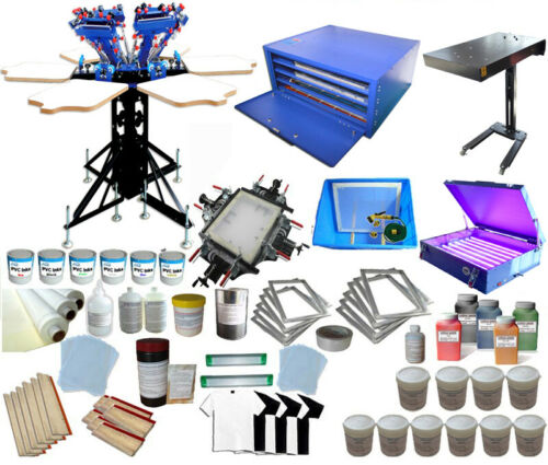 TECHTONGDA 6 Color 6 Station Screen Printing Full Set Kit with Materials