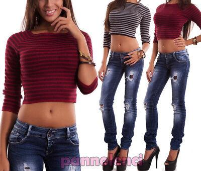 Pullover Frau Pullover Top Kurz Streifen Lange Ärmel Jersey Sexy Neu TR3456 - Jersey Lange Ärmel Pullover