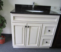 vanity, kitchen cabinet, backsplash,range hood,sink, faucet..
