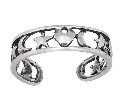 Sterling Silver .925 Heart, Star, Moon, Toe Ring Adjustable Size | Made In USA (Adjustable Star Toe Ring)