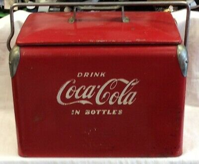 Vintage Coca-Cola Ice Chest circa 1950s Cooler with Bottle Opener on the Side