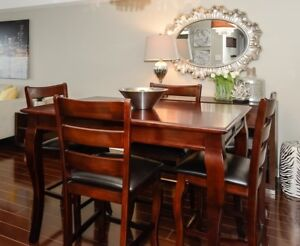 Bar Height Dining Table with 8 chairs
