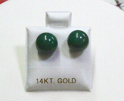 - Malachite Stud Earrings With 14K Gold Post 8mm.