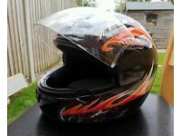 Ultra Black & Red Crash Helmet Size Small